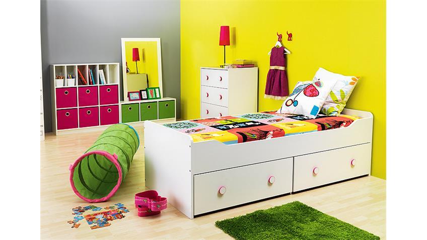 Jugendzimmer COMBEE Weiß inkl. Faltboxen Apfelgrün Pink