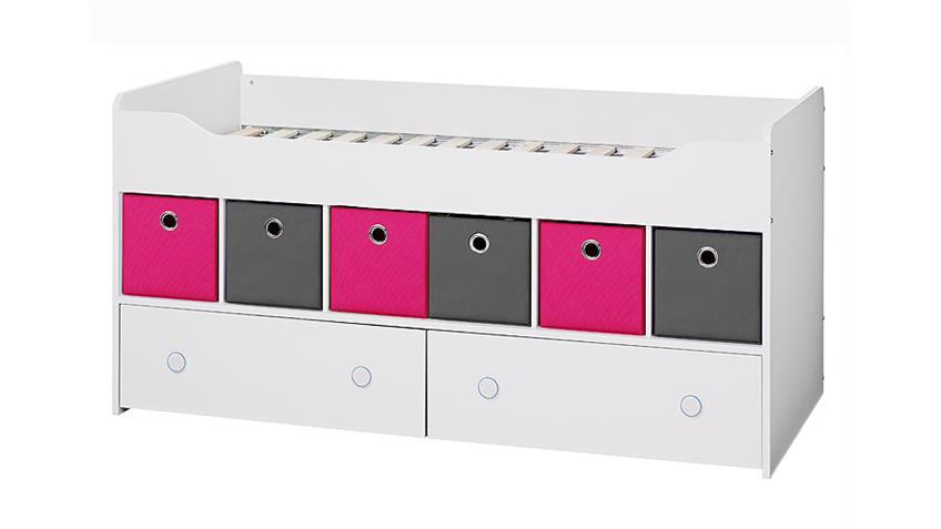 Bett COMBEE Weiß inkl. Faltboxen Grau Pink
