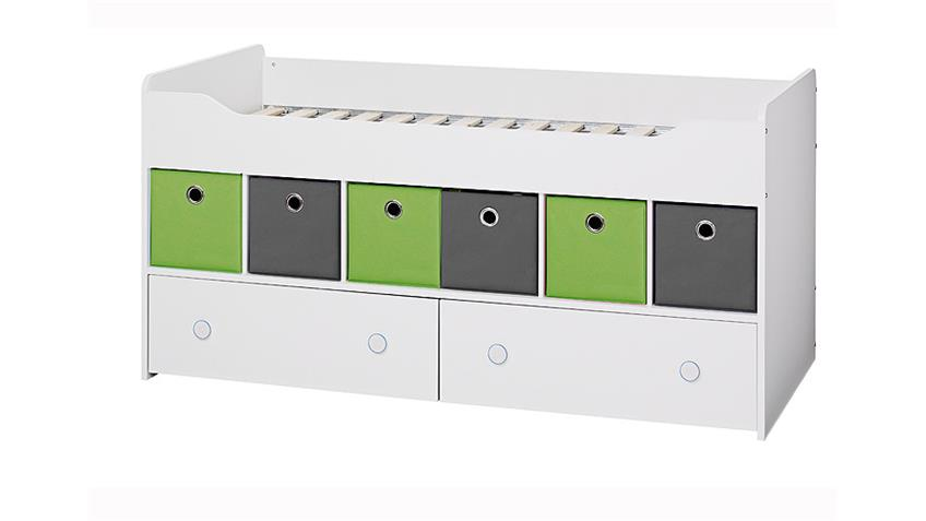 Bett COMBEE Weiß inkl. Faltboxen Grau Apfelgrün