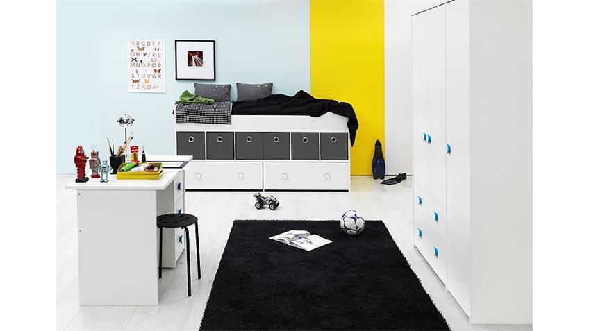 Jugendzimmer COMBEE Weiß inkl. Faltboxen Grau