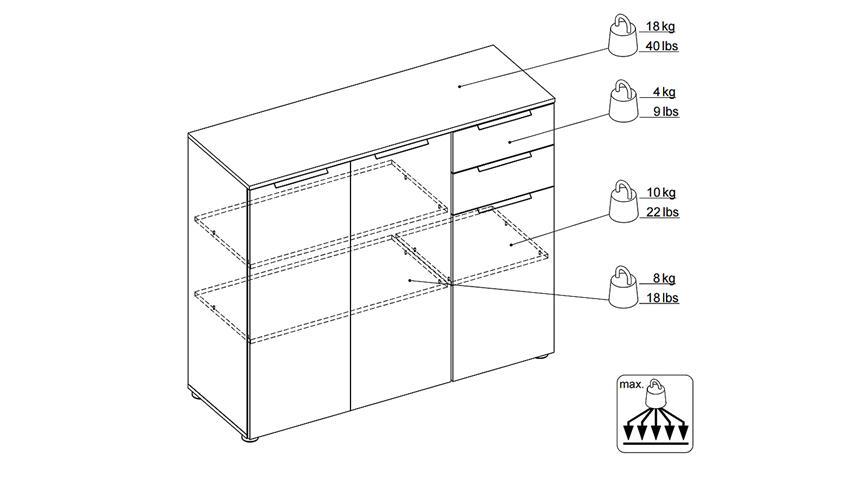 Kommode BLIZZ in weiß Hochglanz mit 3 Türen 2 Schubkästen