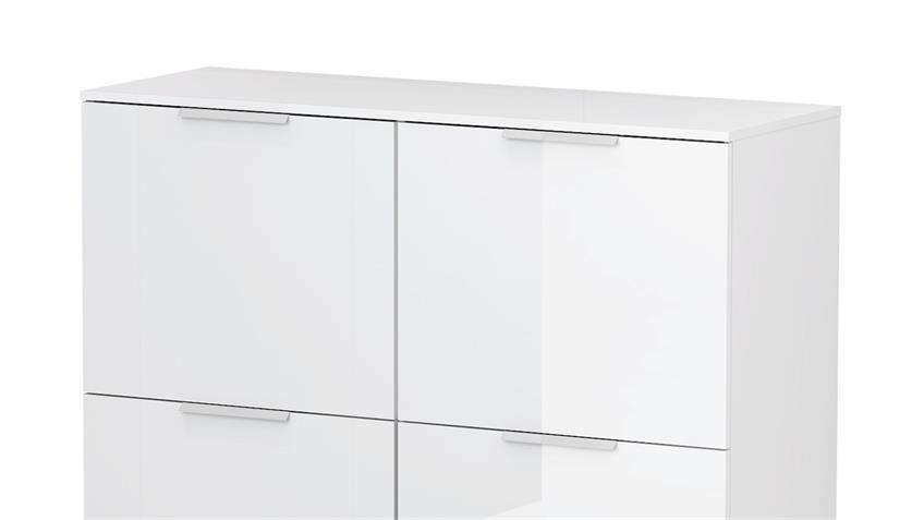 Kommode BLIZZ in weiß Hochglanz mit 4 Türen