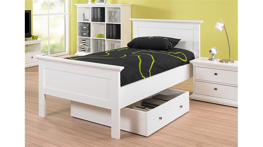 Bett PARIS Jugendbett Einzelbett in weiß Dekor 90x200 cm