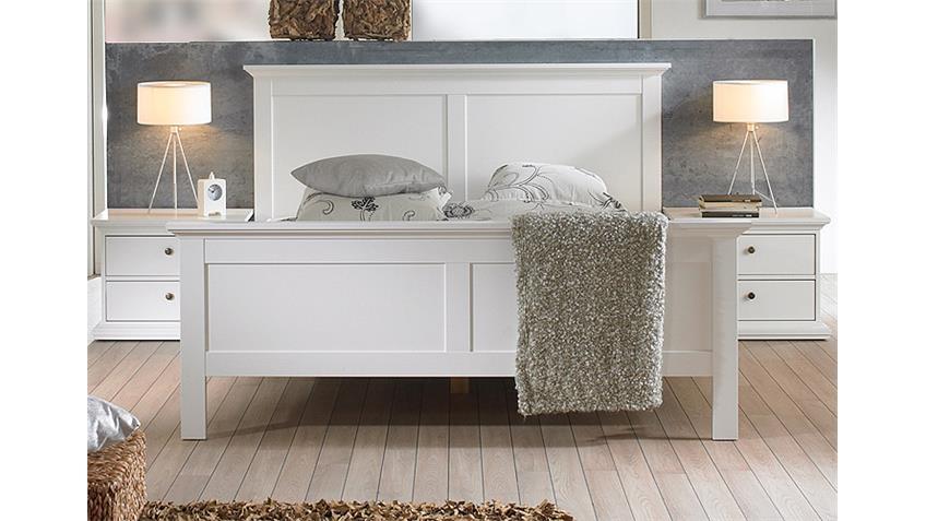 Schlafzimmer PARIS Kleiderschrank Bett Nakos 4 Tlg  in weiß