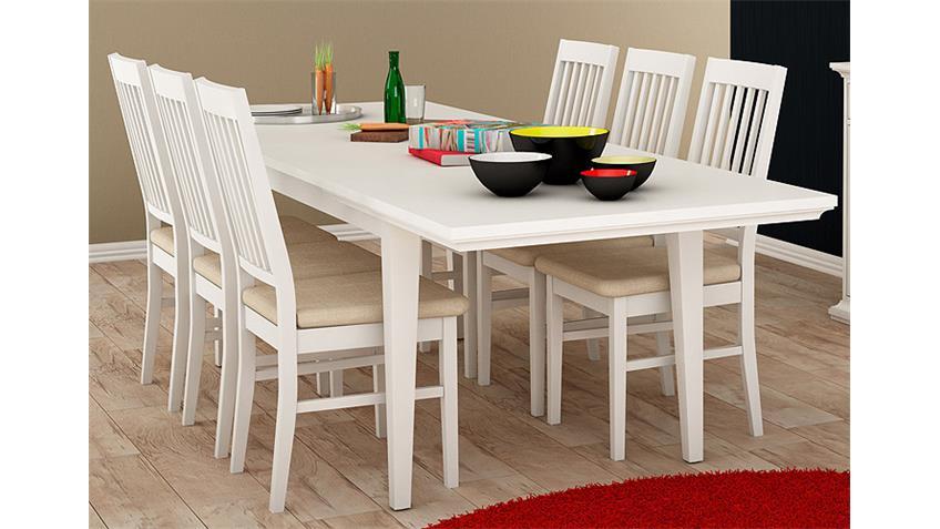 Tischgruppe PARIS Tisch Stuhl in weiß Dekor 180x95 cm