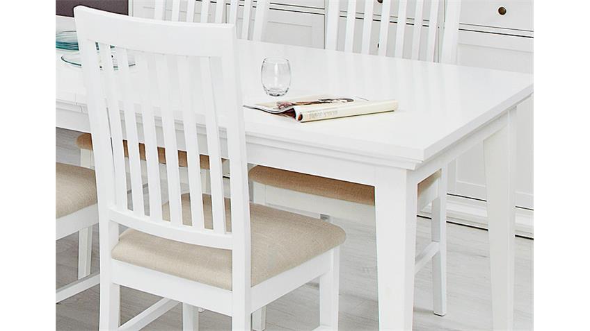 Esszimmer PARIS Tisch Stuhl Buffet Sideboard 7 teilig weiß