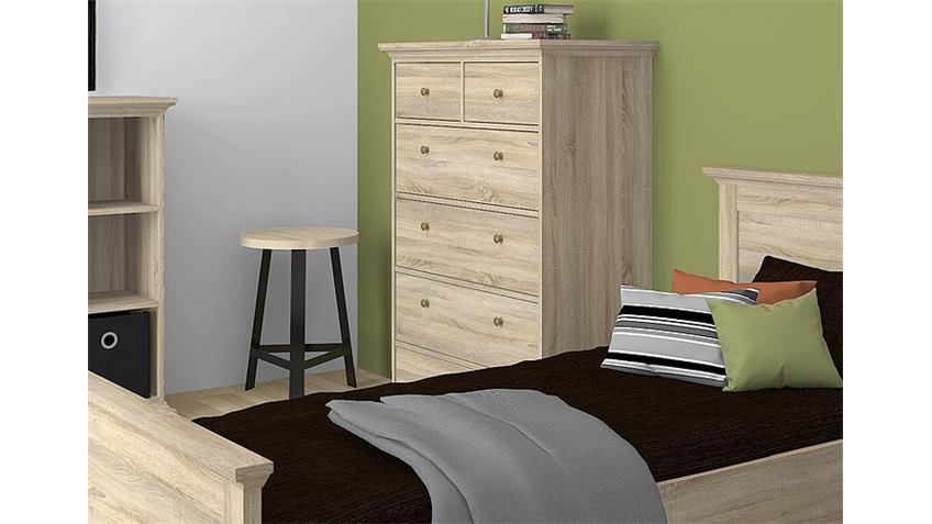 Kommode 3 PARIS Highboard in Eiche Struktur 6 Schubladen
