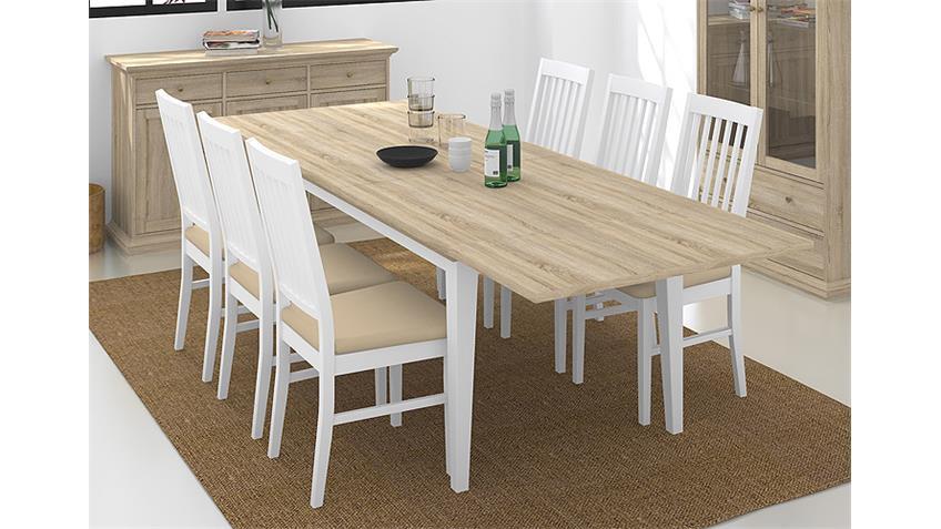Tischgruppe PARIS Eiche Struktur und weiß 180x95 cm