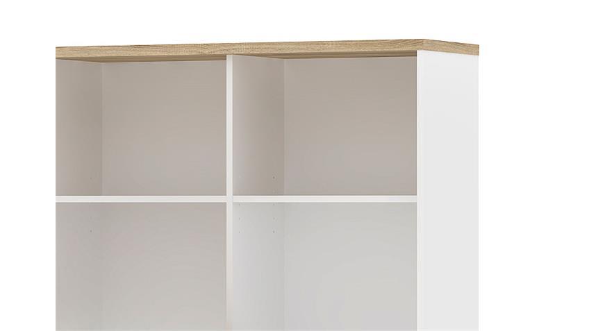 Schreibtisch FUNCTION PLUS weiß und Eiche inkl. Regal
