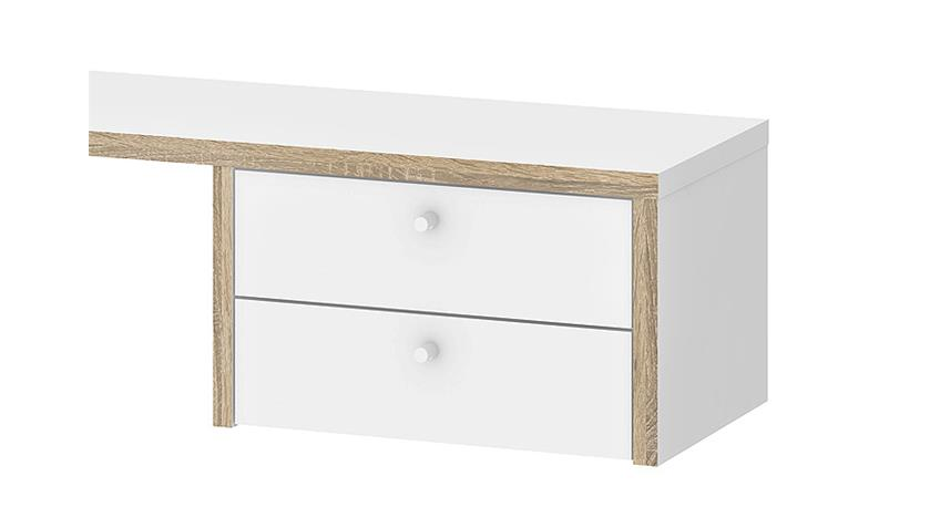 Schreibtischaufsatz TORONTO weiß Eiche Struktur 120x30 cm