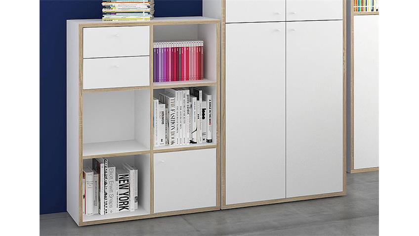 Büro Set TORONTO Büromöbel weiß Eiche Struktur 7 teilig