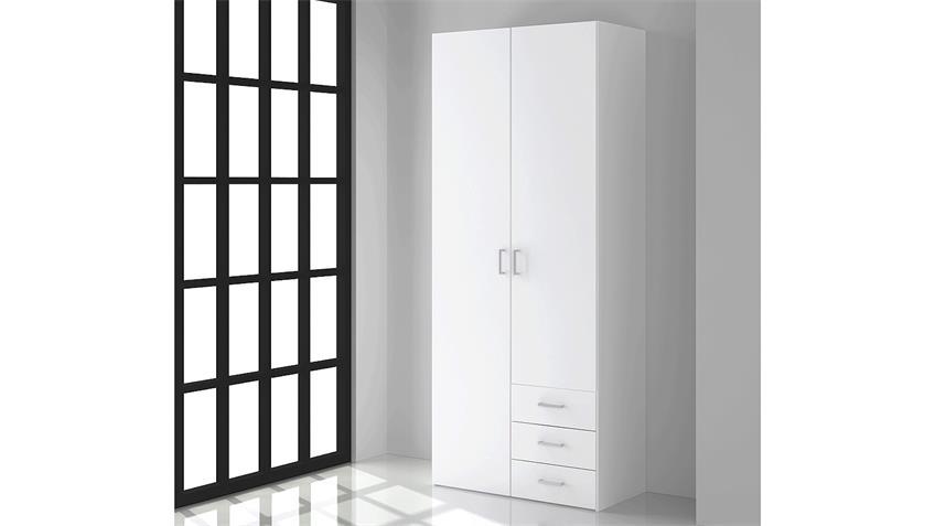 Kleiderschrank SUROS weiß 2 Türen 3 Schubkästen Höhe 200