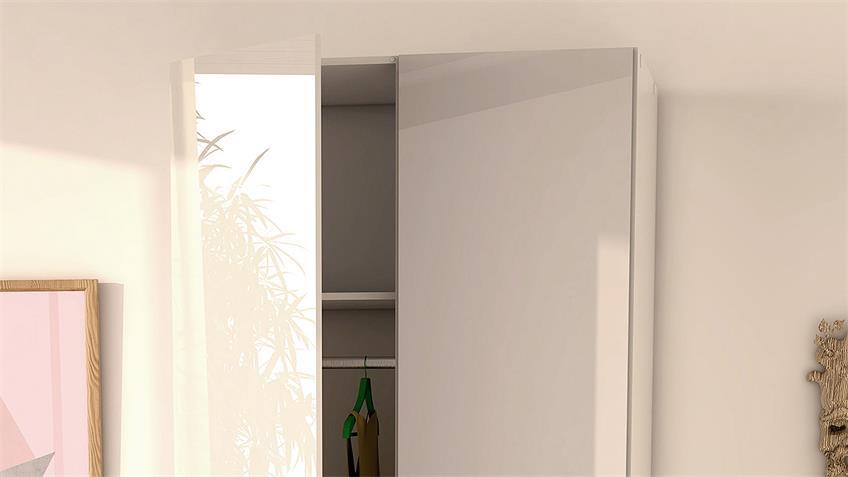 Kleiderschrank SUROS weiß HG 2 Türen 3 Schubkästen Höhe 200
