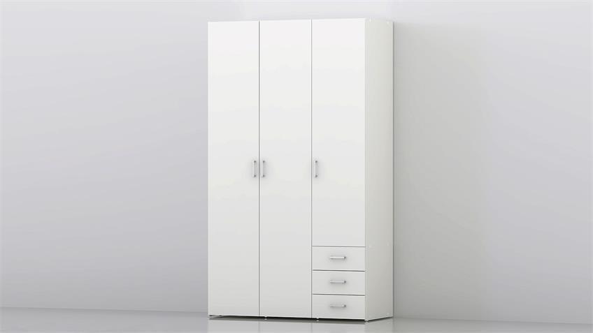 Kleiderschrank SUROS weiß 3 Türen 3 Schubkästen Höhe 200