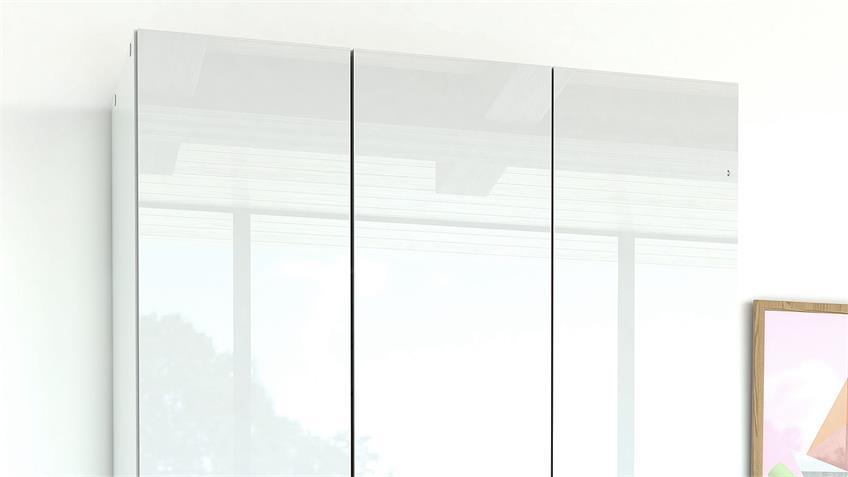 Kleiderschrank SUROS weiß HG 3 Türen 3 Schubkästen Höhe 200