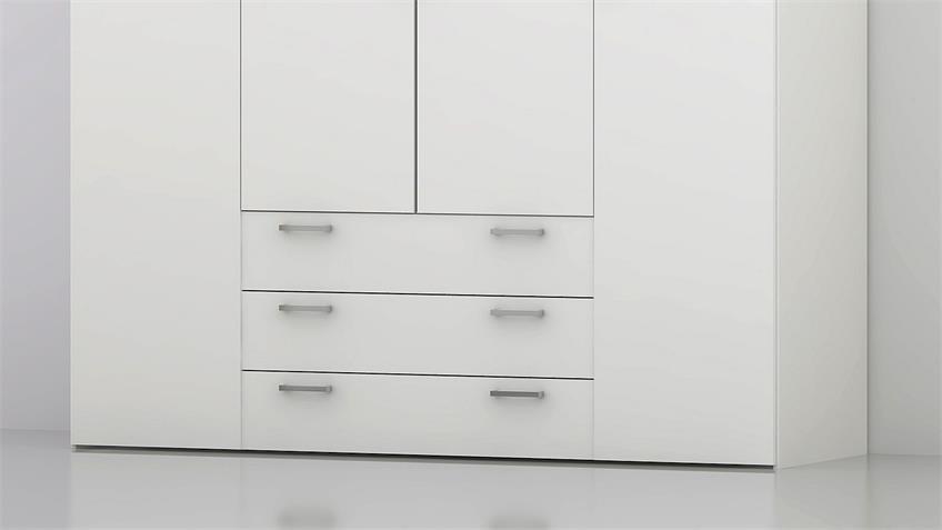Kleiderschrank SUROS weiß 4 Türen 3 Schubkästen Höhe 200