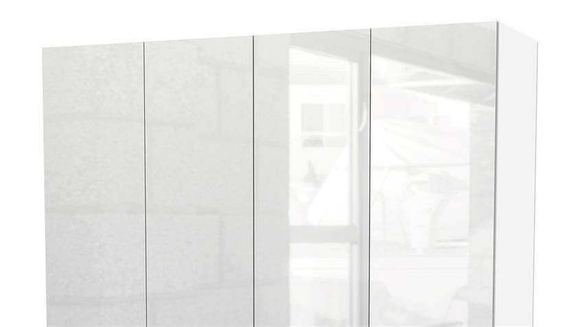 Kleiderschrank SUROS weiß HG 4 Türen 3 Schubkästen Höhe 200