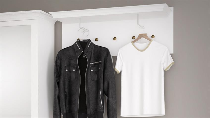 Garderobenpaneel PARIS Landhaus in weiß 5 Haken