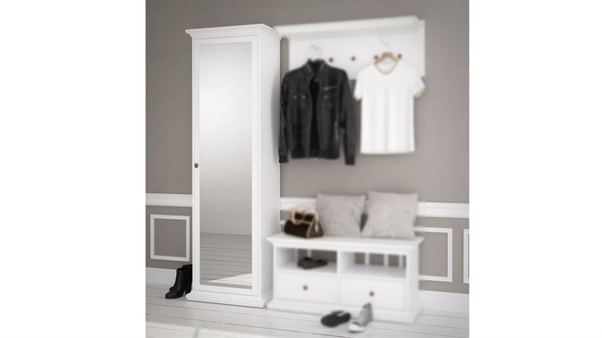 Garderobenschrank PARIS Landhaus weiß 1 Tür mit Spiegel