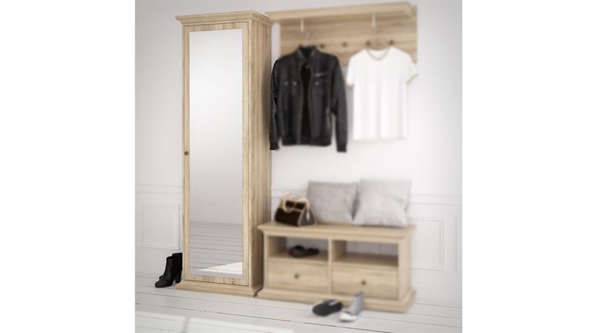 Garderobenschrank PARIS Landhaus Eiche struktur 1 Tür mit Spiegel