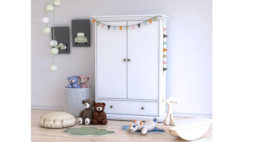 Wäscheschrank PARIS Landhaus in weiß Kinderzimmer Schrank