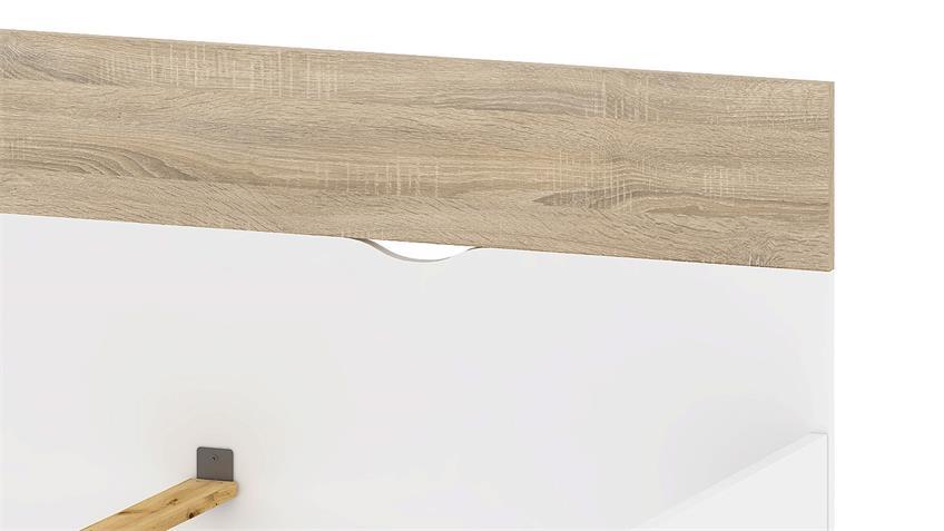Bett FOKOS in weiß und Eiche Struktur 140x200 cm