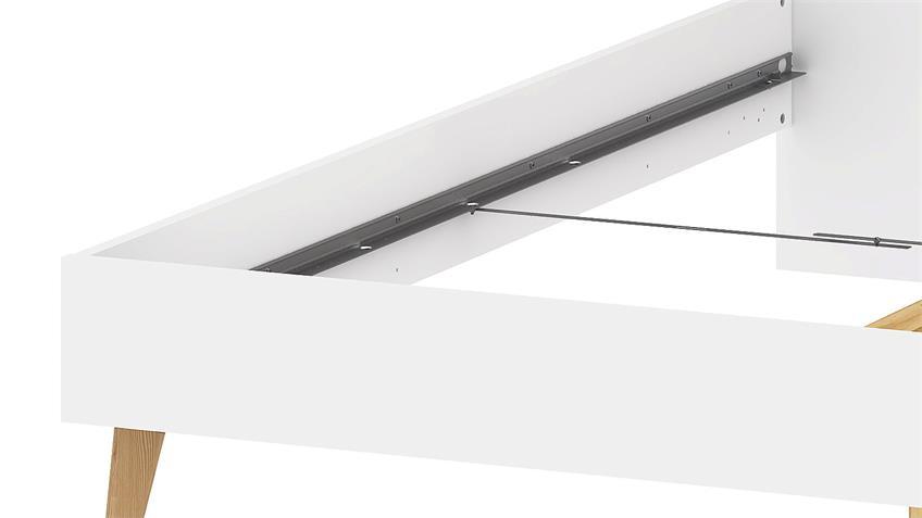 Bett FOKOS in weiß und Eiche Struktur 180x200 cm