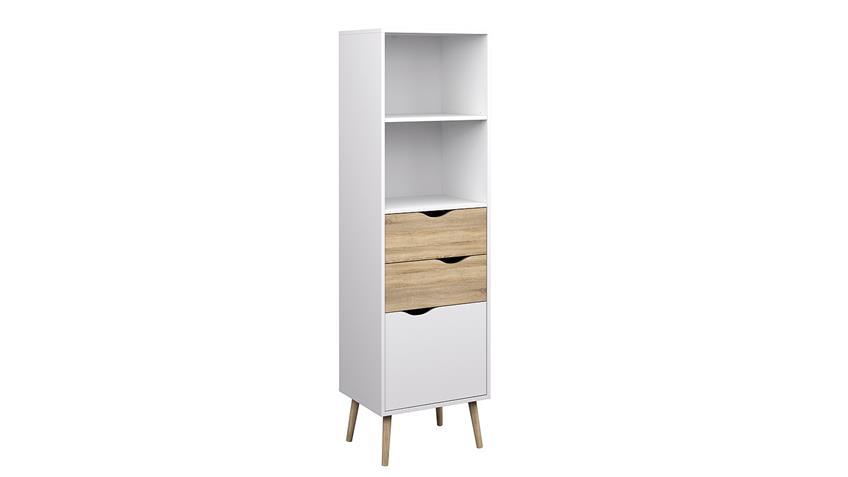 Regal 1 FOKOS Bücherregal in weiß und Eiche Struktur