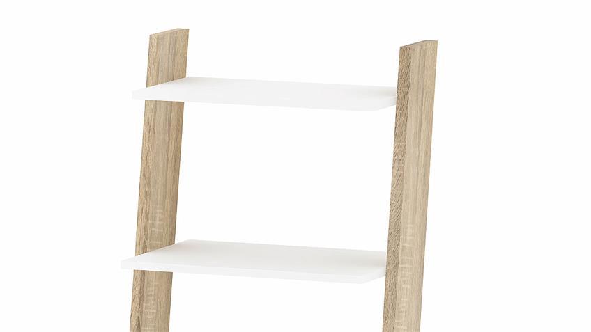 Regal 2 FOKOS Bücherregal in weiß und Eiche Struktur