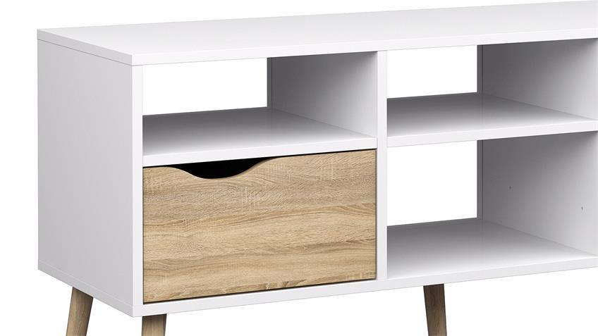 TV-Schrank 1 FOKOS in weiß und Eiche Struktur