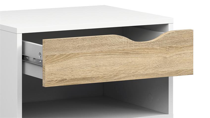 Nachttisch FOKOS Nako in weiß und Eiche Struktur