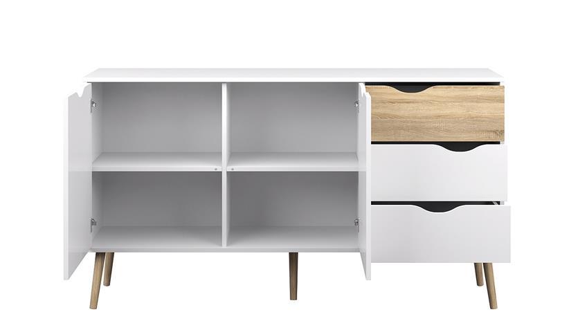 Sideboard 1 FOKOS Anrichte in weiß und Eiche Struktur