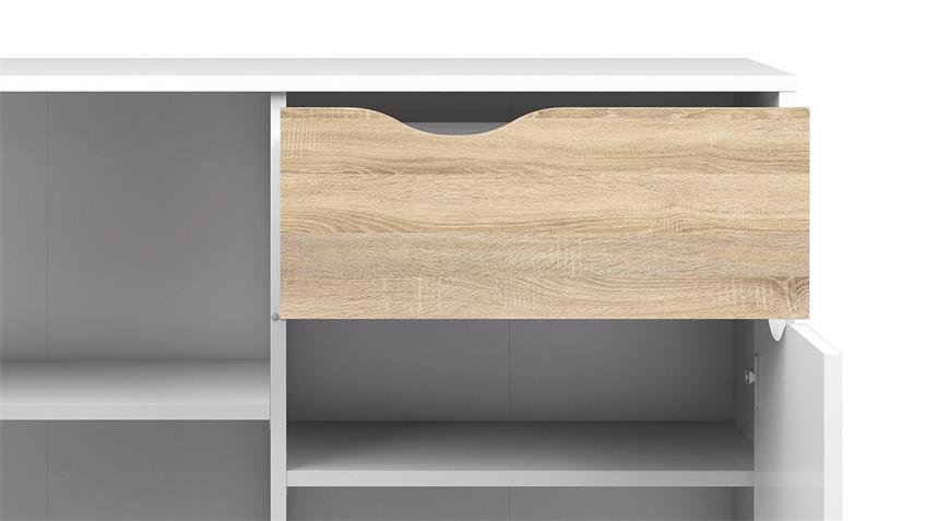 Sideboard 2 FOKOS Kommode in weiß und Eiche Struktur