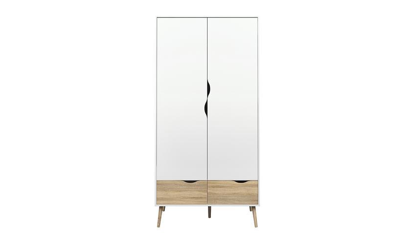 Kleiderschrank FOKOS in weiß und Eiche Struktur 99 cm