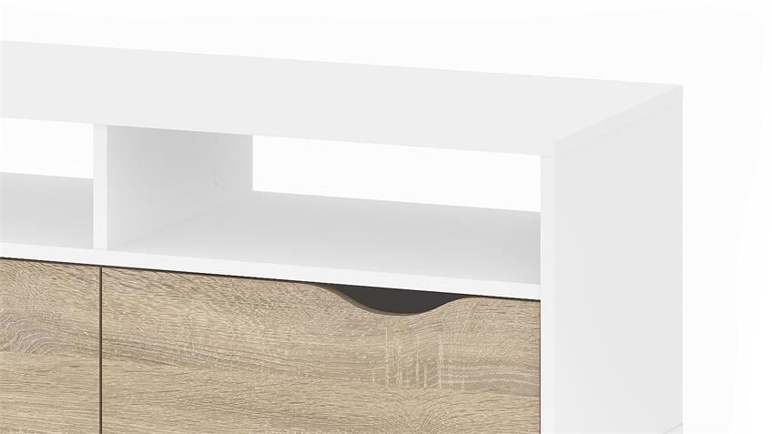 TV-Schrank 2 FOKOS in weiß und Eiche Struktur