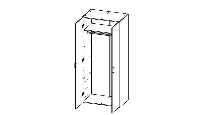 Kleiderschrank SUROS weiß 2 Türen Höhe 175