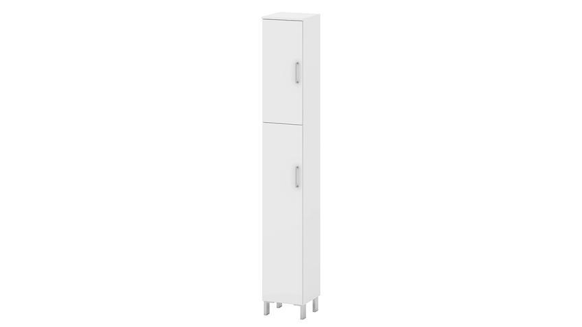 Badezimmerschrank Weiß : Hochschrank LAKE Badezimmerschrank in weiß ...