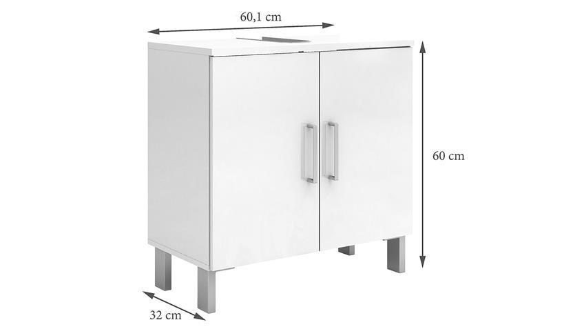 Waschbeckenunterschrank LAKE in weiß Hochglanz
