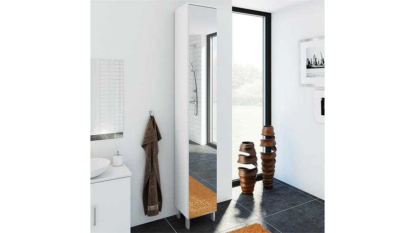 Hochschrank LAKE Badezimmerschrank mit Spiegel in weiß