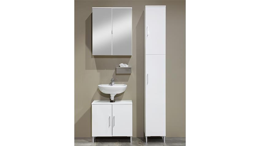 Badezimmer LAKE in weiß Hochglanz mit Spiegel 3-teilig