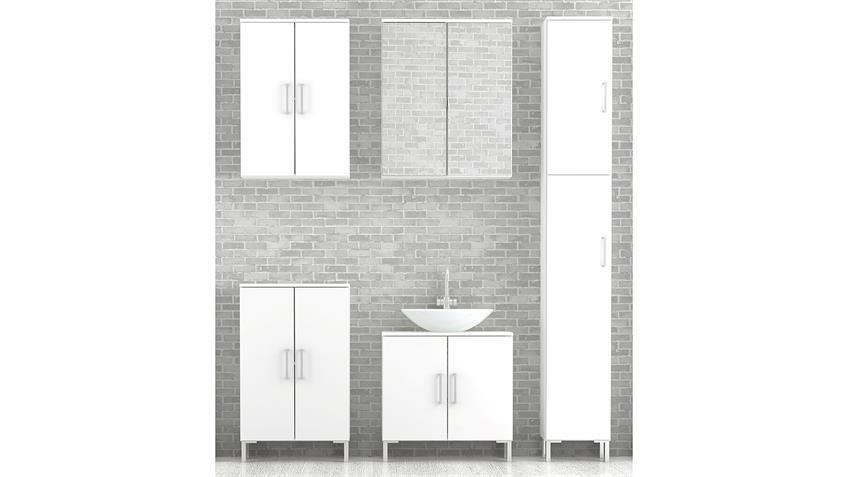 Badezimmer LAKE in weiß Hochglanz mit Spiegel 5-teilig