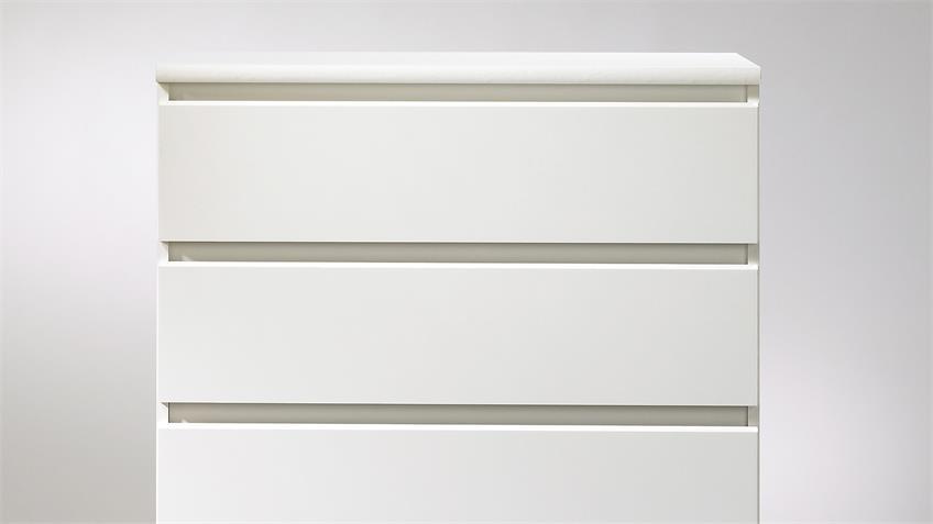 Kommode NAIA Schrank in weiß mit 5 Schubkästen