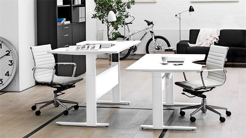 Schreibtisch PAMA in weiß höhenverstellbar elektronisch