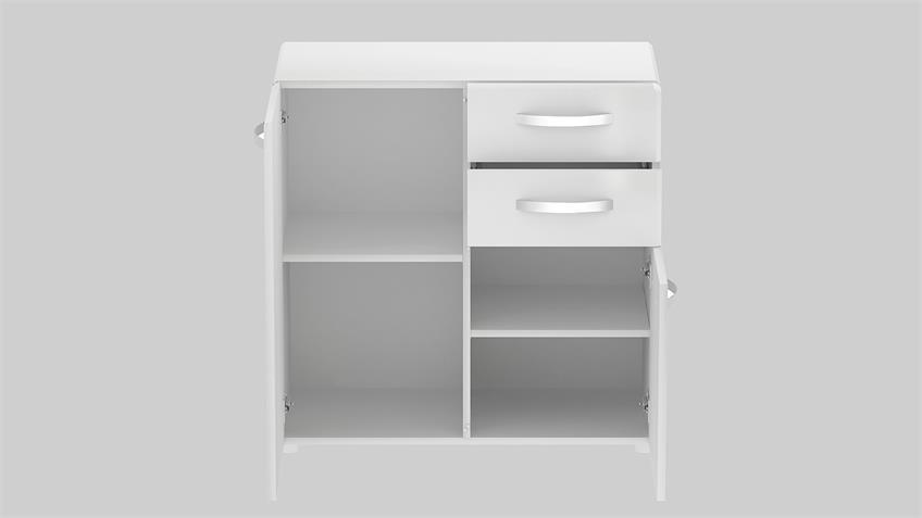 Kommode 1 ROUND in weiß mit 2 Türen 2 Schubkästen