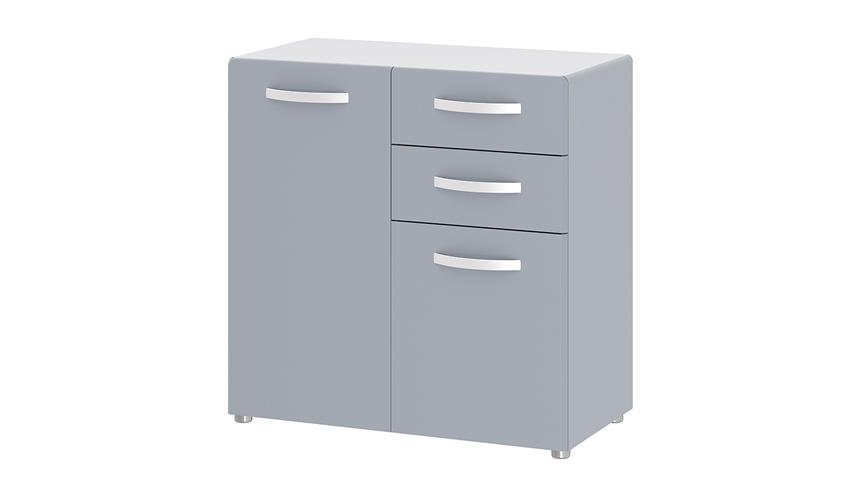Kommode 1 ROUND in grau mit 2 Türen 2 Schubkästen