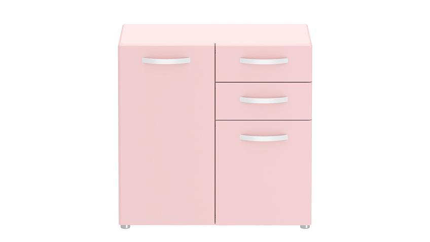 Kommode 1 ROUND in rosa mit 2 Türen 2 Schubkästen