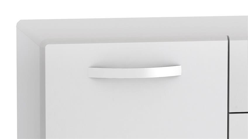 Sideboard 1 ROUND in weiß mit 3 Türen 2 Schubkästen