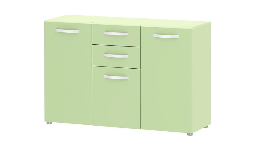 Sideboard 1 ROUND in grün mit 3 Türen 2 Schubkästen