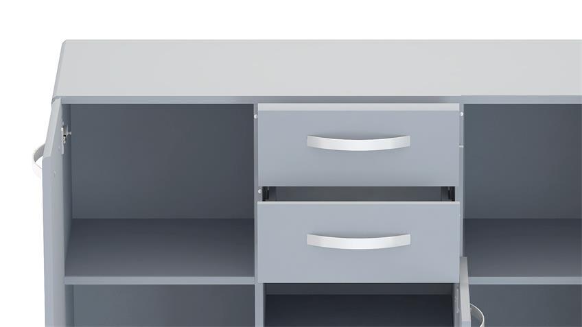 Sideboard 1 ROUND in grau mit 3 Türen 2 Schubkästen