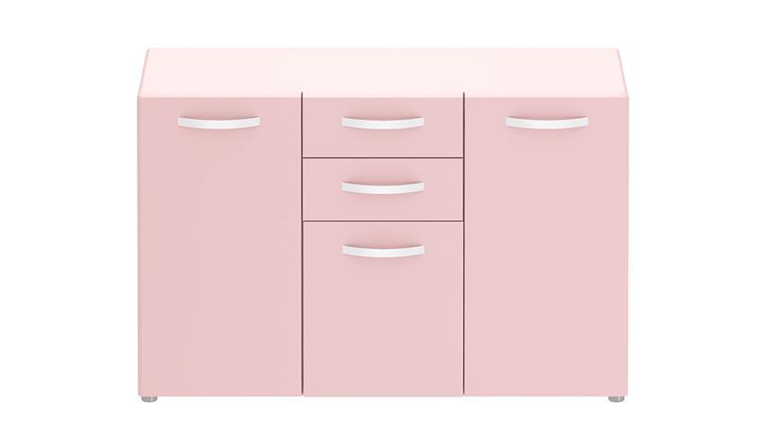 Sideboard 1 ROUND in rosa mit 3 Türen 2 Schubkästen